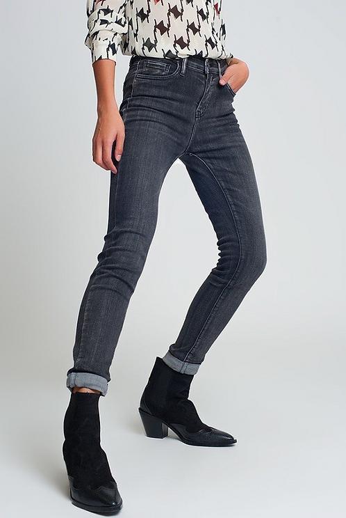 Black Wash High Rise Skinny Denim Jeans