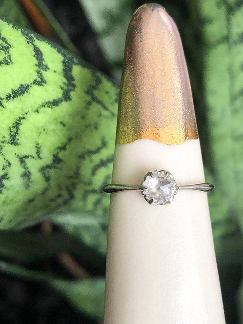 14k White Gold White Rosecut Sapphire Ring