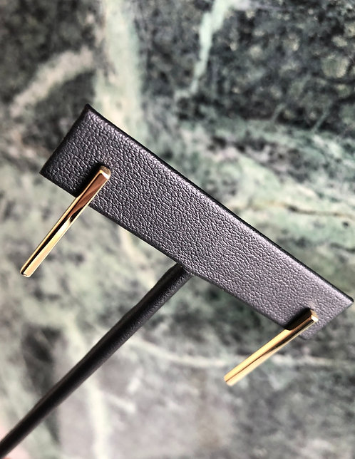 10k Yellow Gold Squared Vertical Bar Studs