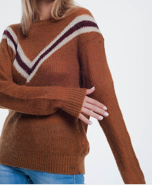 Soft Knit Sweater in 'Burnt Orange' with Chevron Detail