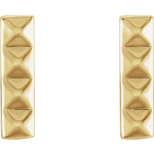 14k Gold Pyramid Bar Stud Earrings