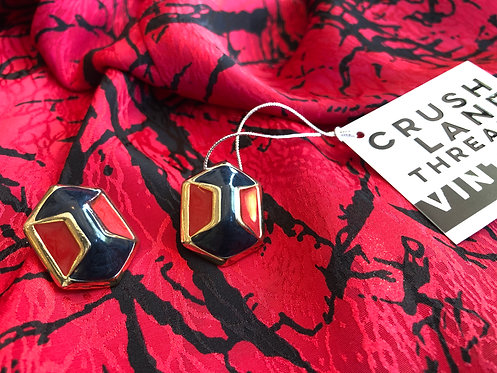Navy And Red Hexagon Clip-Ons