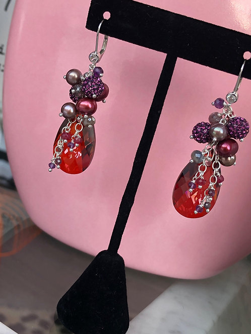 'Love' Swarovski Cluster Earrings