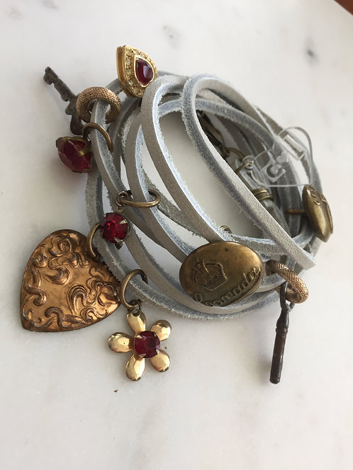 Leather Wrap Bracelet with Vintage Charms