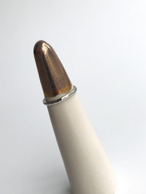14k White Gold Hammered Texture Band