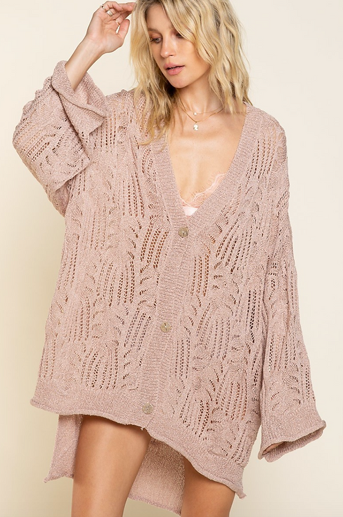 Slouchy Woven Cardigan in Mauve