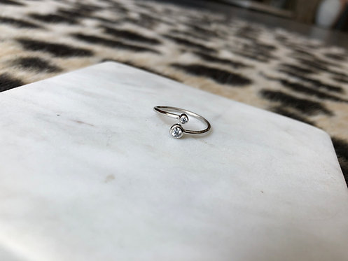 Cross Over Ring with CZ's