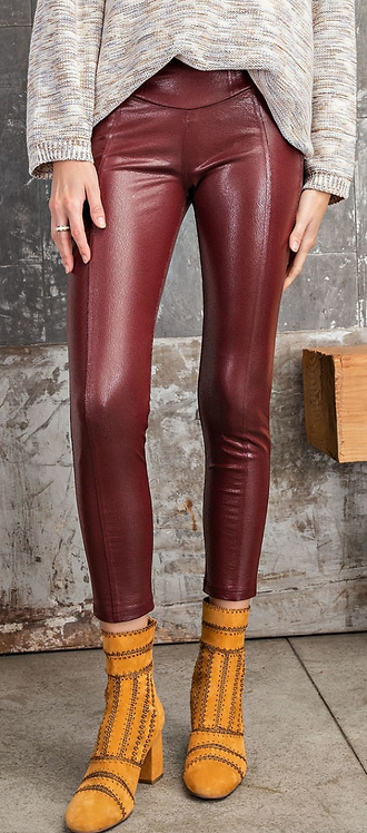 Faux Leather Leggings with Seam Detail