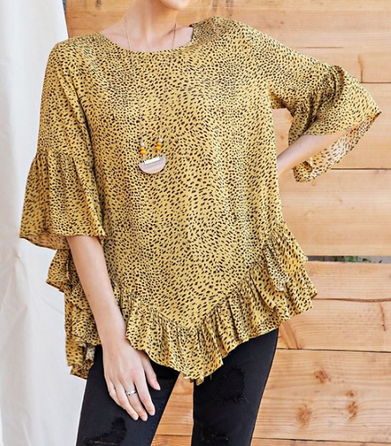 Animal Print Layered Ruffled Bottom Tunic