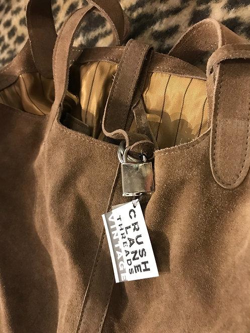 Beige Suede Bucket Bag With Locket Detail