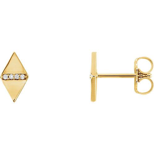 14k Gold Diamond-Shape with Diamond Stud Earrings