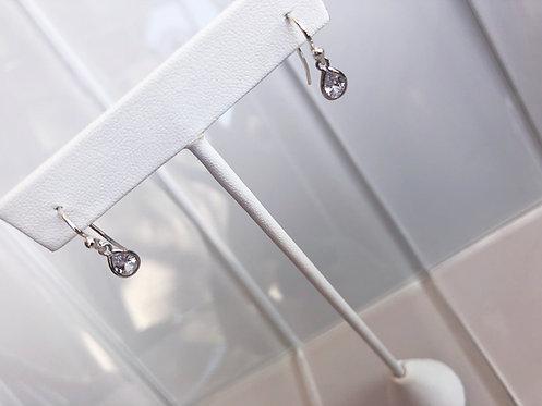 Silver Dainty Pear Drop Earrings