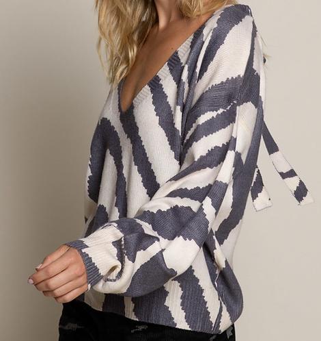 'V' Neck Zebra Print Sweater with Tie at Back