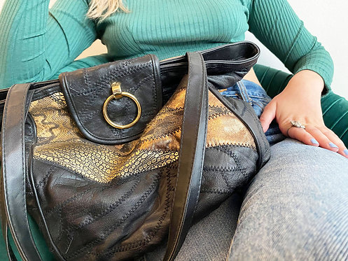 Black and Gold Genuine Leather Purse
