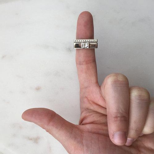 Princess Cut Solitaire with Diamond Wedding Band Set