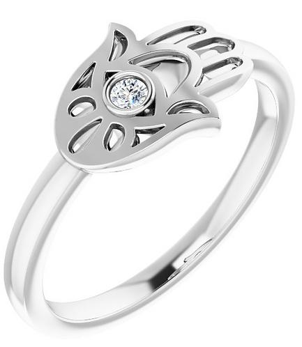 14k Hamsa Diamond Ring