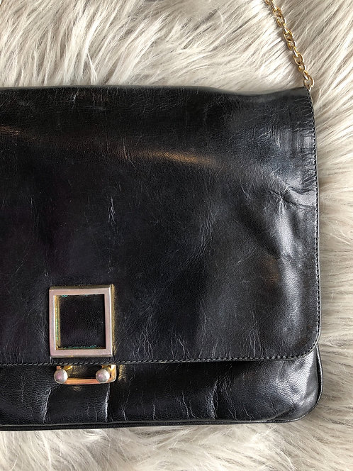 Genuine Black Leather Purse with Chain Strap