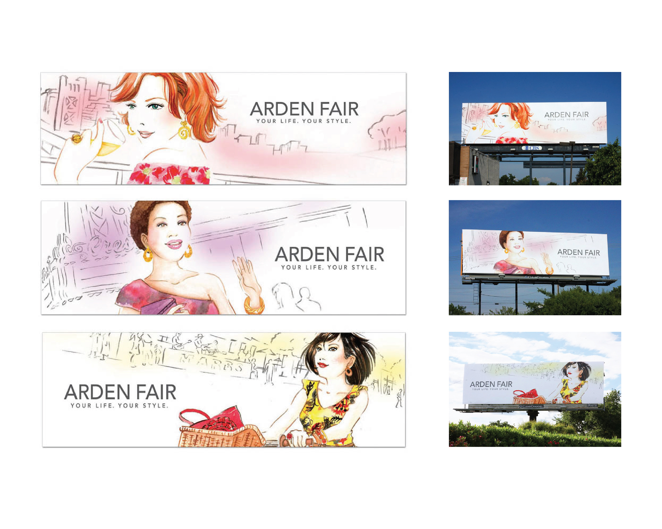 Arden Fair Mall Illustrations and Billboards