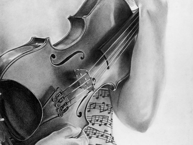 Violin Drawing in Graphite
