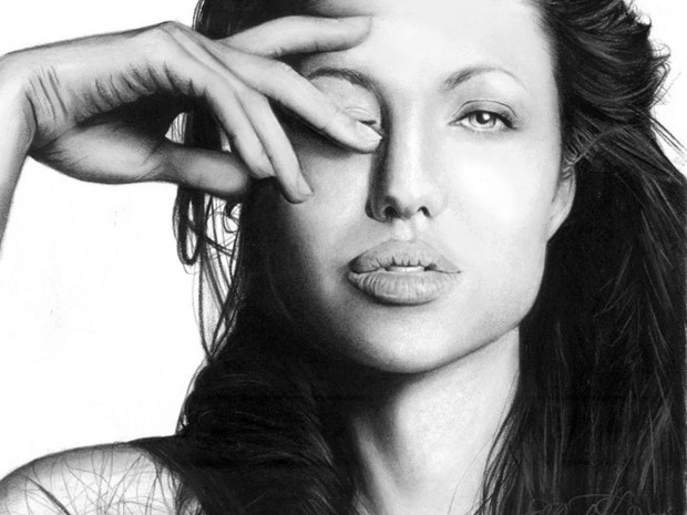 Angelina Jolie Portrait in Charcoal