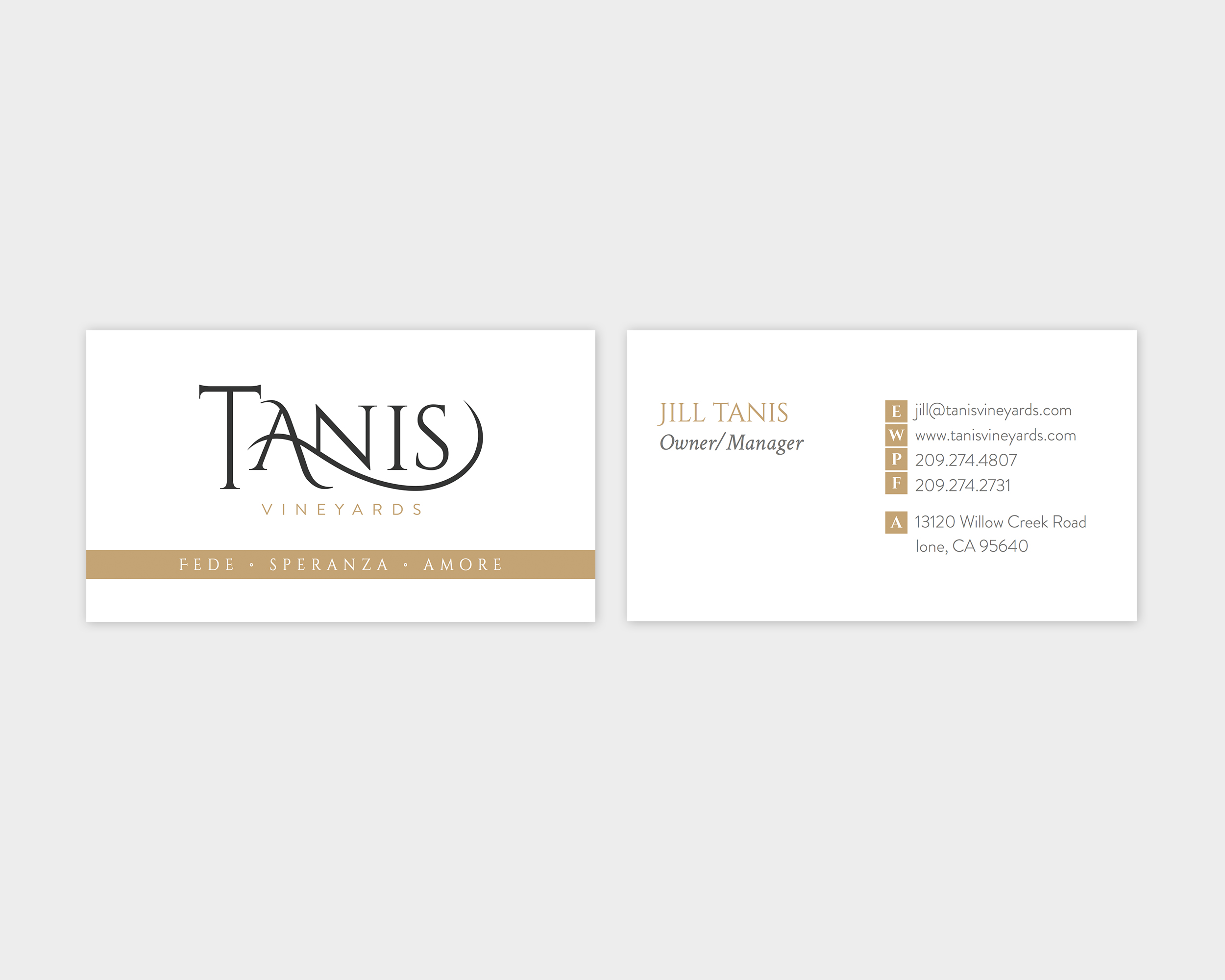 Tanis Vineyards Business Card Design