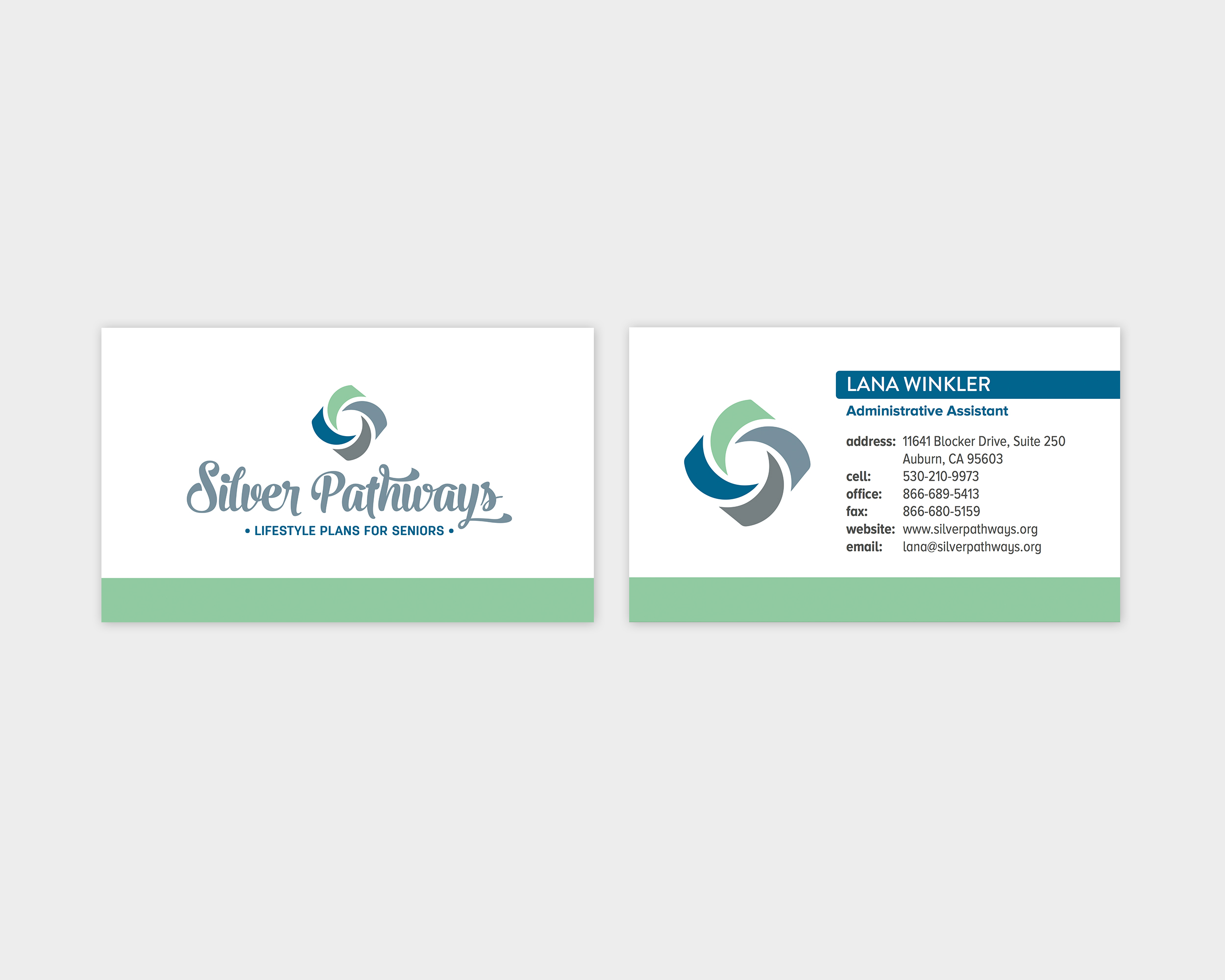 Silver Pathways Business Card Design