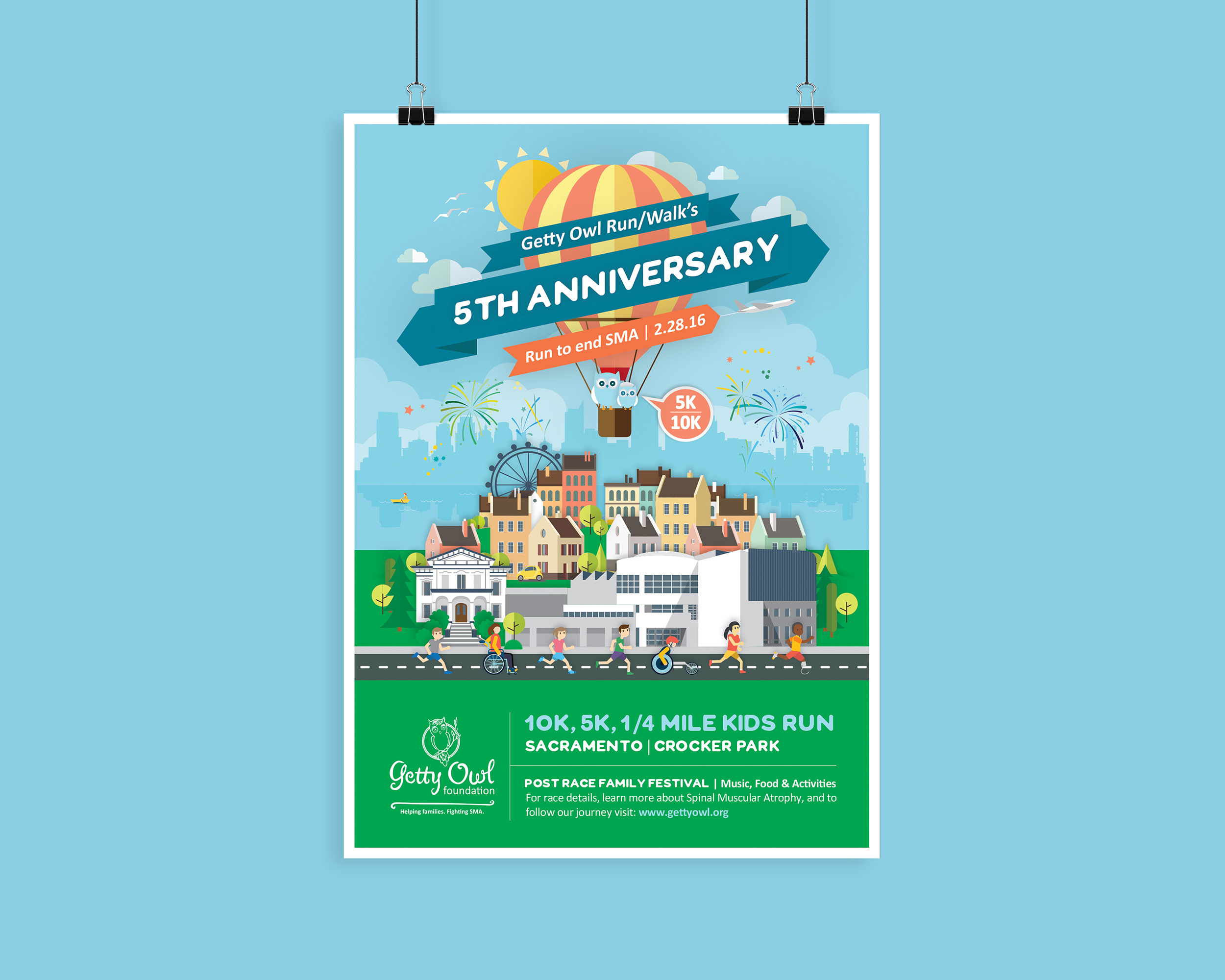 5th Anniversary Getty Owl Run/Walk Poster