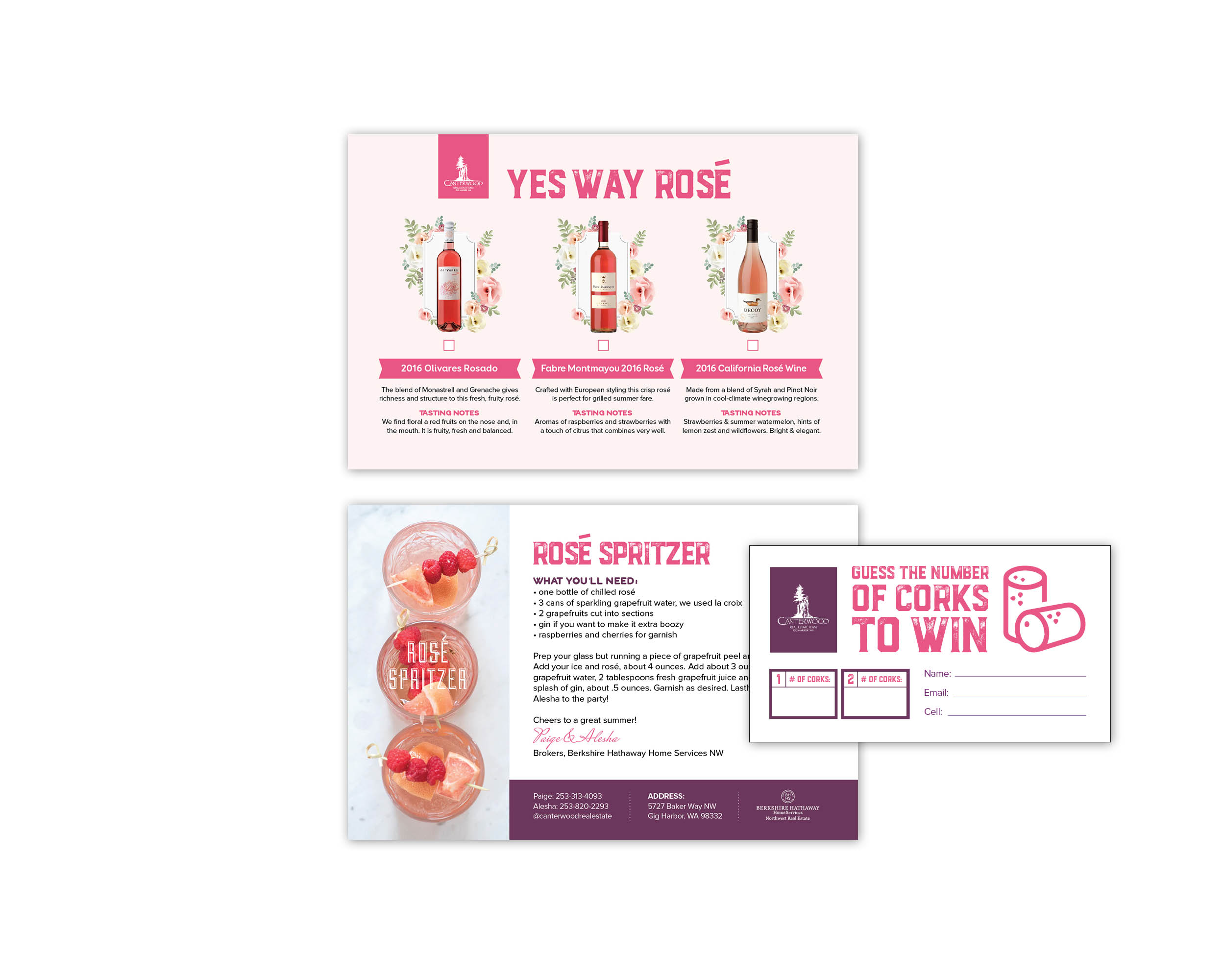 Yes Way Rosé Postcard, Recipe Card and Contest Card
