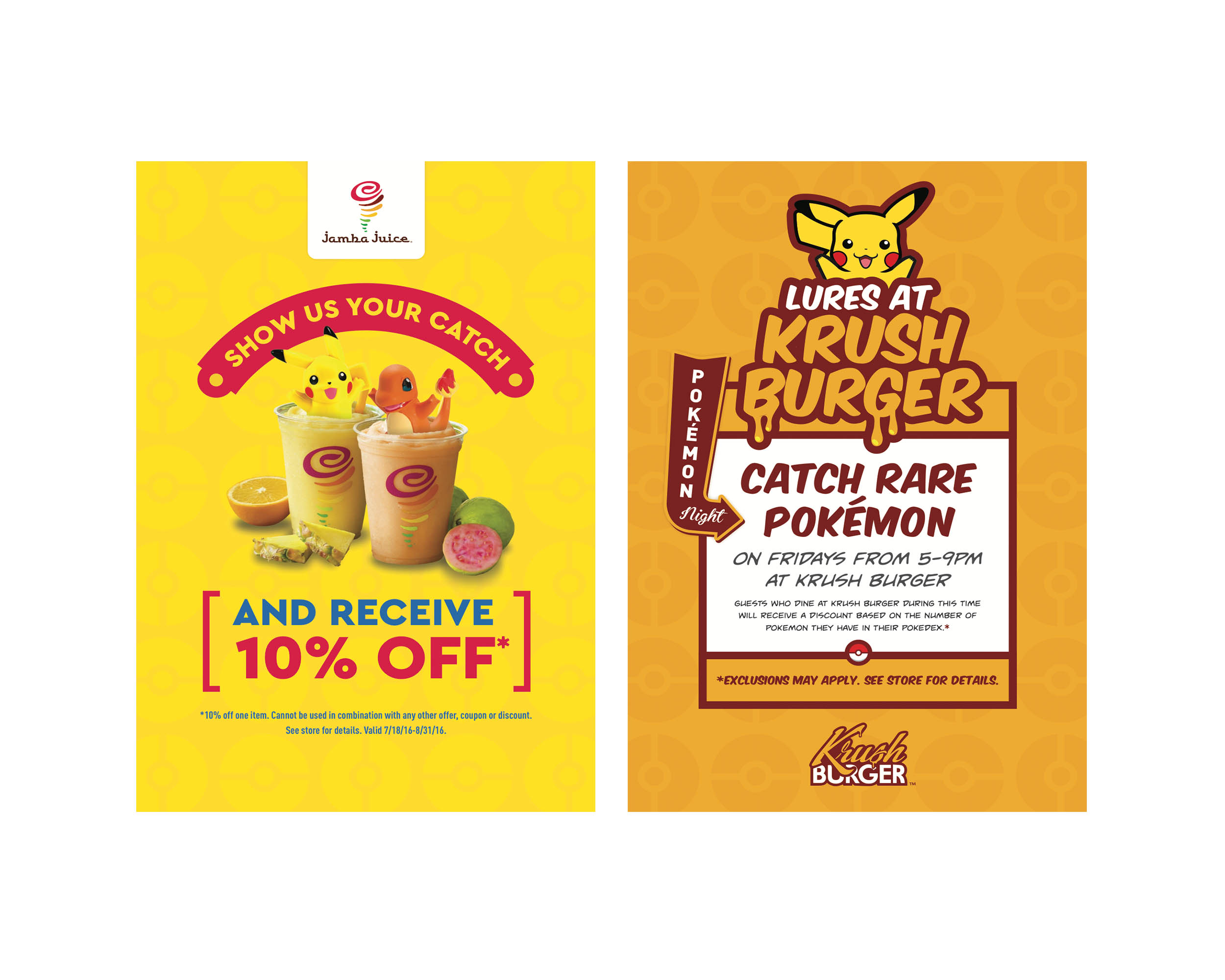 Jamba Juice and Krush Burger Pokémon Go Posters