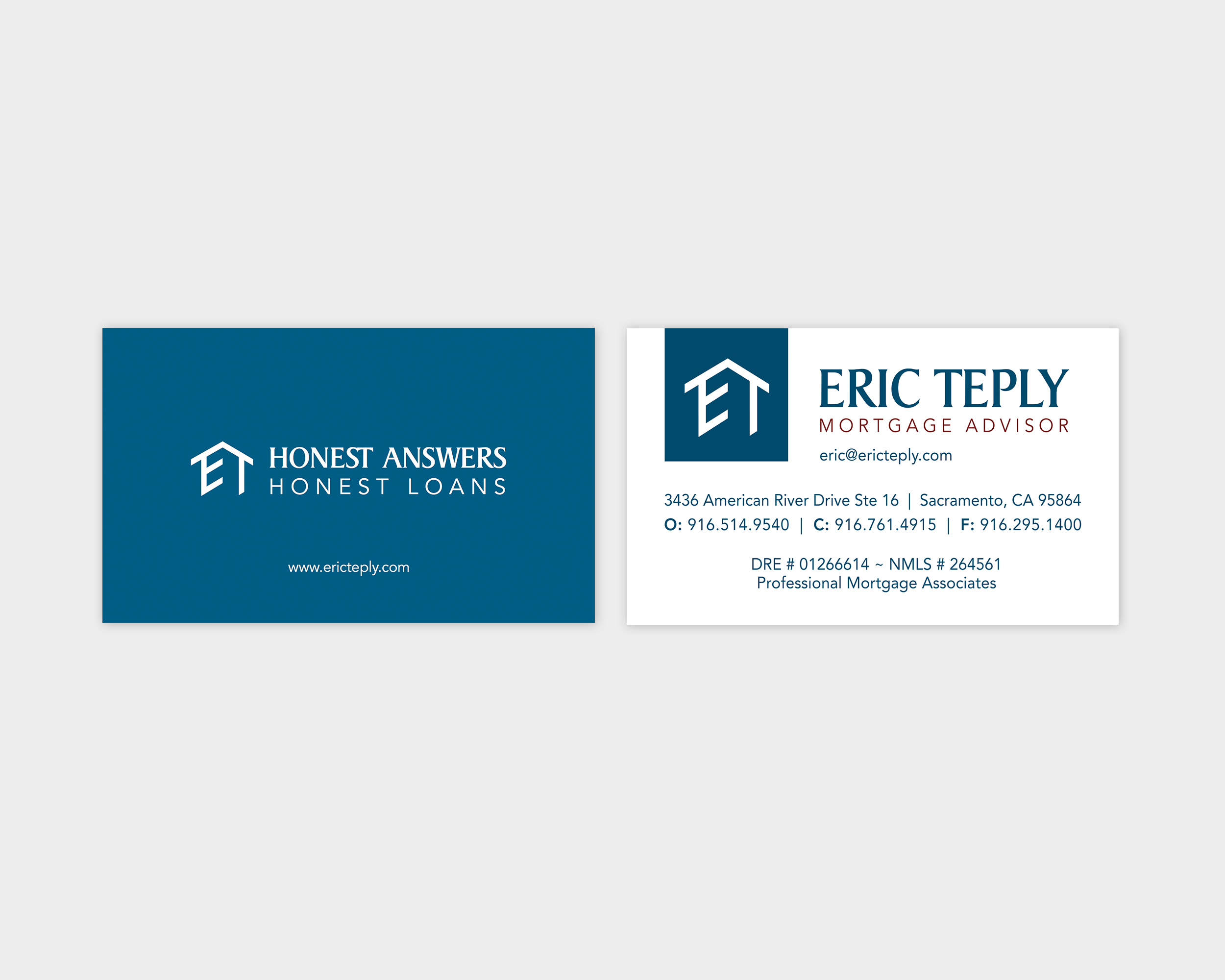 Eric Teply Mortgage Advisor Business Card Design