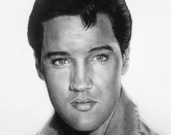 Elvis Prestley Portrait in Charcoal