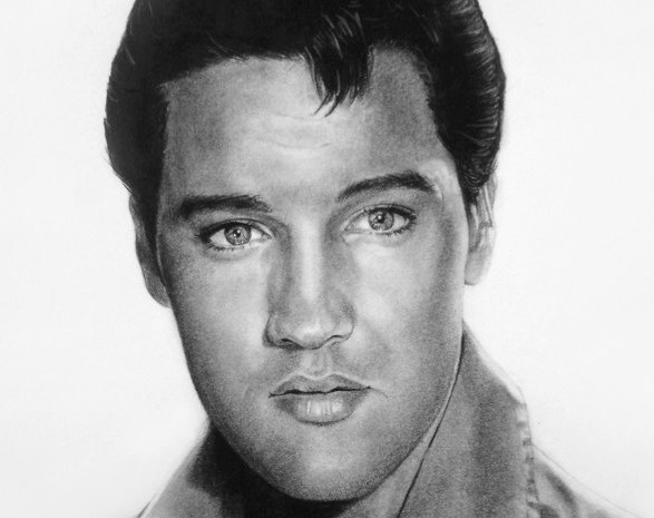 Elvis Prestley Portrait in Charcoal