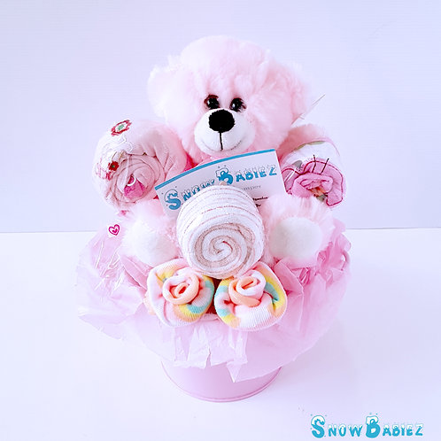 Bear Bucket Hamper - Girl