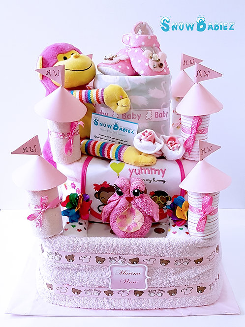 Princess Castle nappy cakes for baby shower