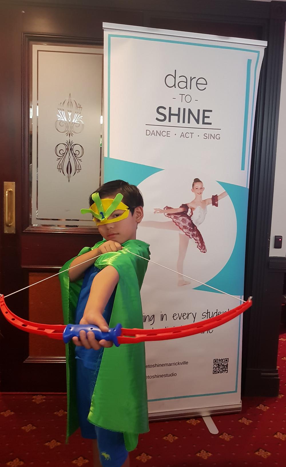 superhero boy in acting performance