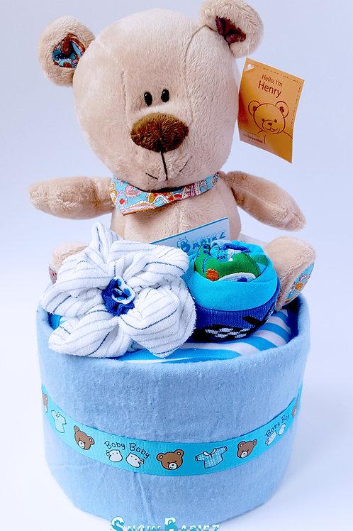 1 Tier SnowBabiez Nappy Cake - Boy