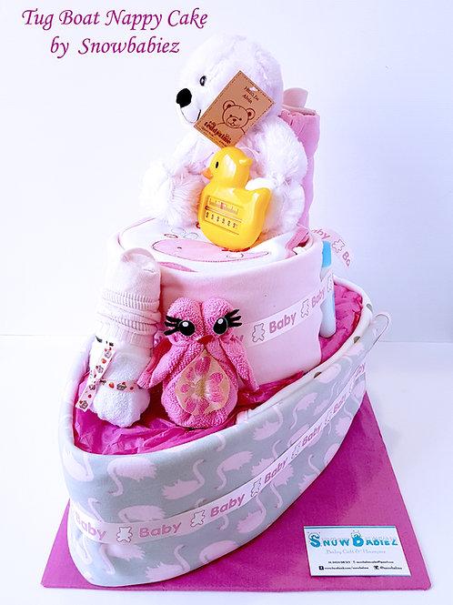 Tug Boat Nappy Cake - Girl