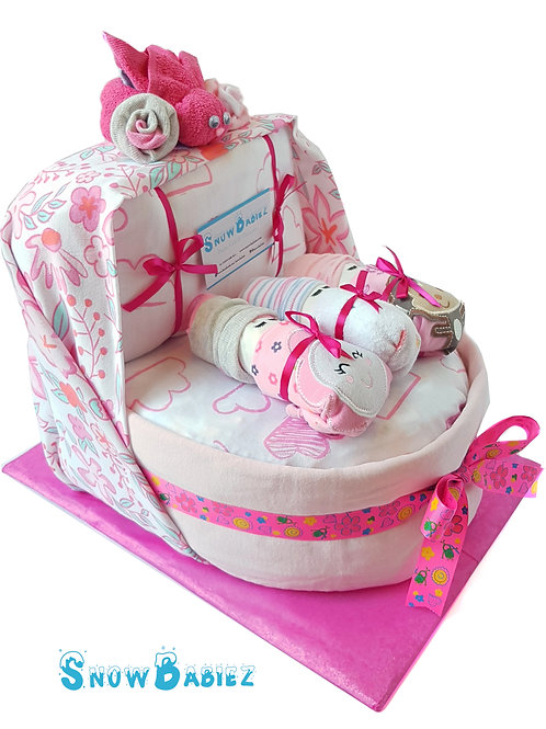 Basinet Nappy Cake - Girl
