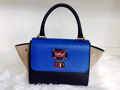 The Melissa Bowler Leather With Side Flaps - Blue And Black