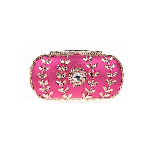 Olive Diamond Crystal Clutch - Pink