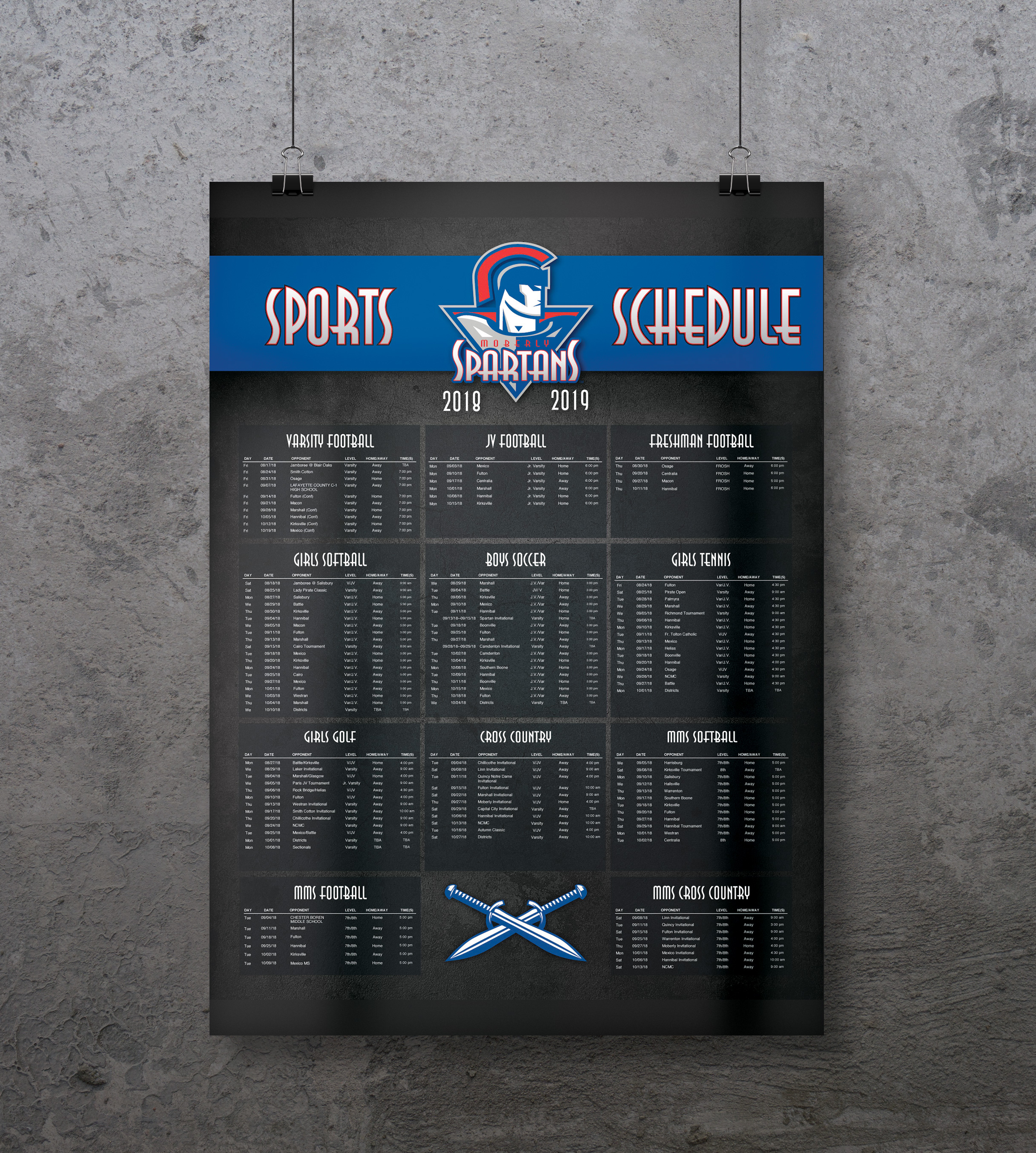 Highschool Sports Schedule Poster