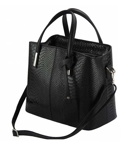 The Vanessa Leather Croco-Black