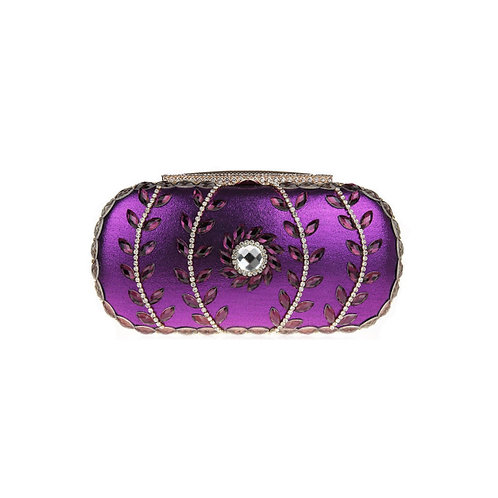 Olive Diamond Crystal Clutch - Purple