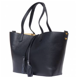 The Venetian Leather Tote With Makeup Pouch - Black
