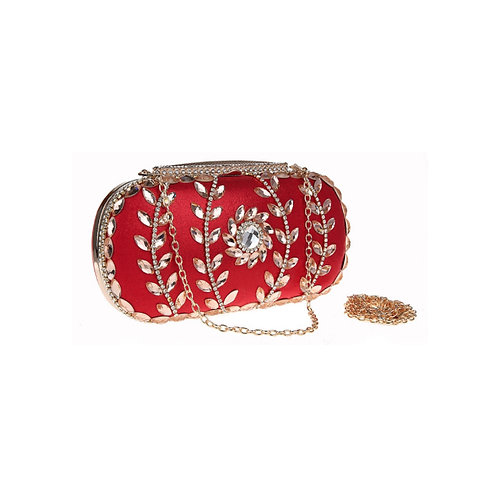 Olive Diamond Crystal Clutch - Red