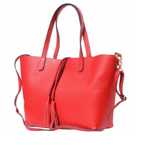 The Venetian Leather Tote With Makeup Pouch - Red