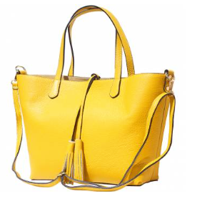 The Venetian Leather Tote With Makeup Pouch - Yellow