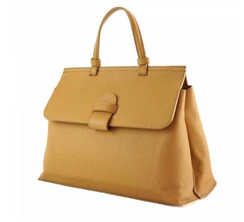 The Tita leather satchel - Tan/Yellow
