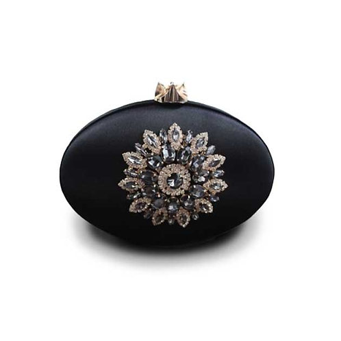 Crystal Satin Clutch - Black