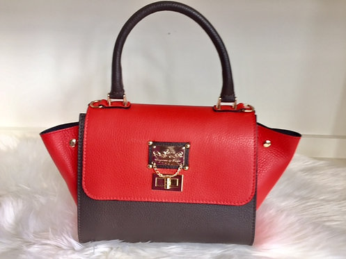 The Melissa Bowler Leather With Side Flaps: Red/Dark Brown